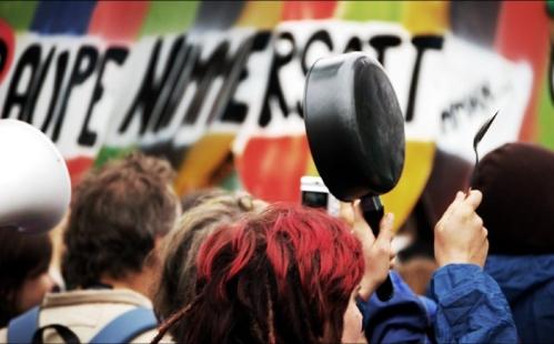 Bunter und lauter Protest bestimmte das wahre Gesamtbild der Demo                    Foto: Jannis Greff